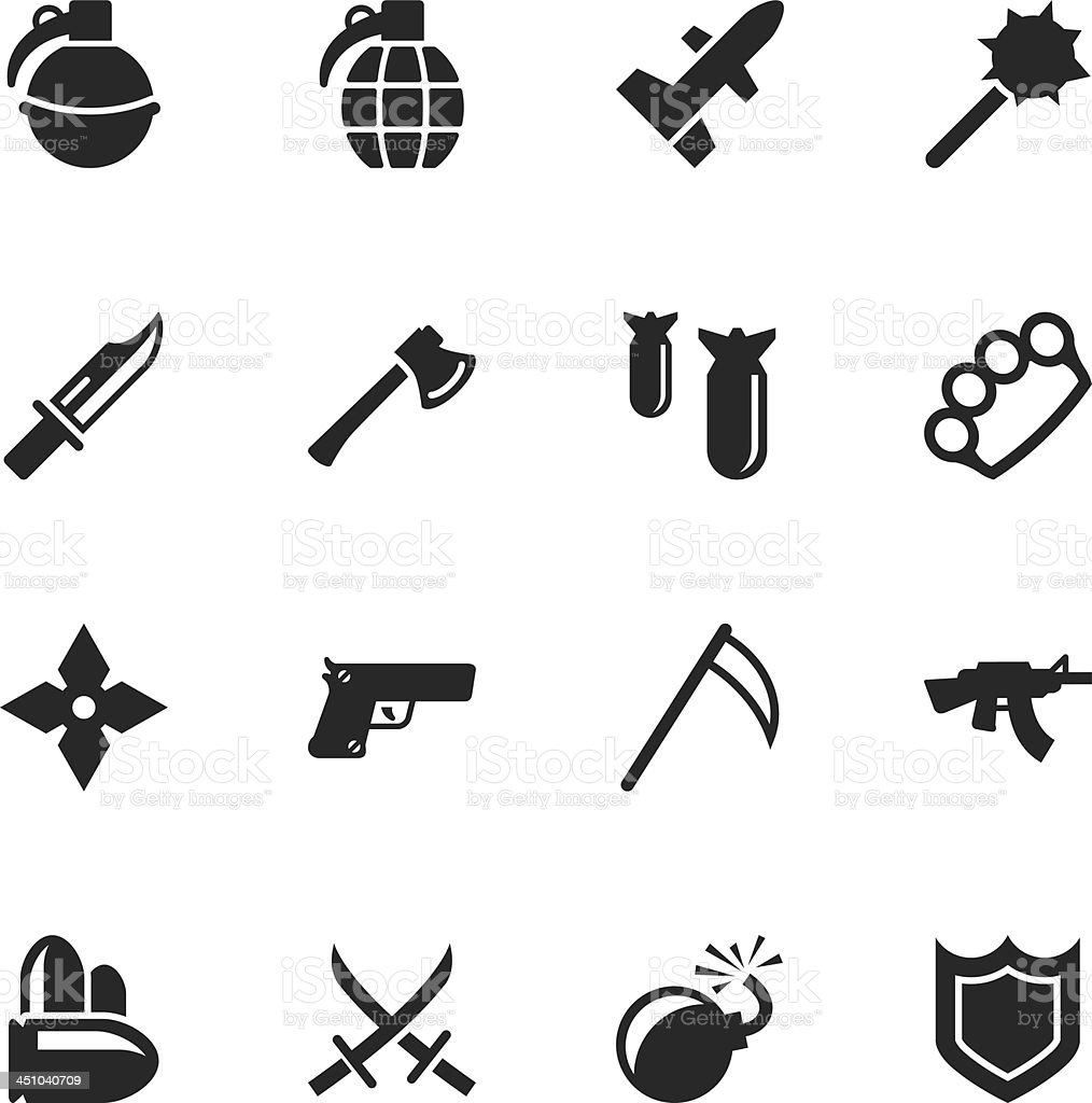 Weapon Silhouette Icons vector art illustration