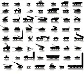 Collection of 56 high detailed military silhouettes. Vector on separate layers
