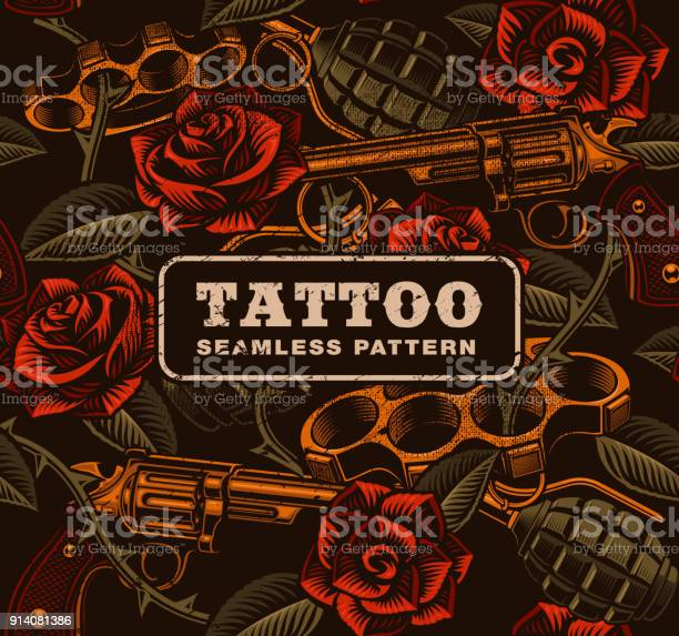 Weapon with roses tattoo seamless pattern vector id914081386?b=1&k=6&m=914081386&s=612x612&h=2vkeye8zg8vu2i7 zxgpoq6hkerda7asreukvlchh i=