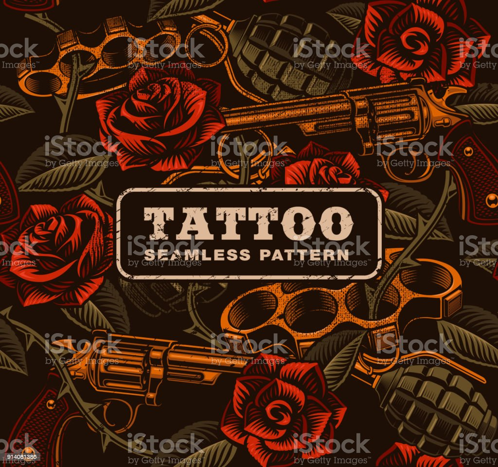 Weapon with roses, tattoo seamless pattern. vector art illustration