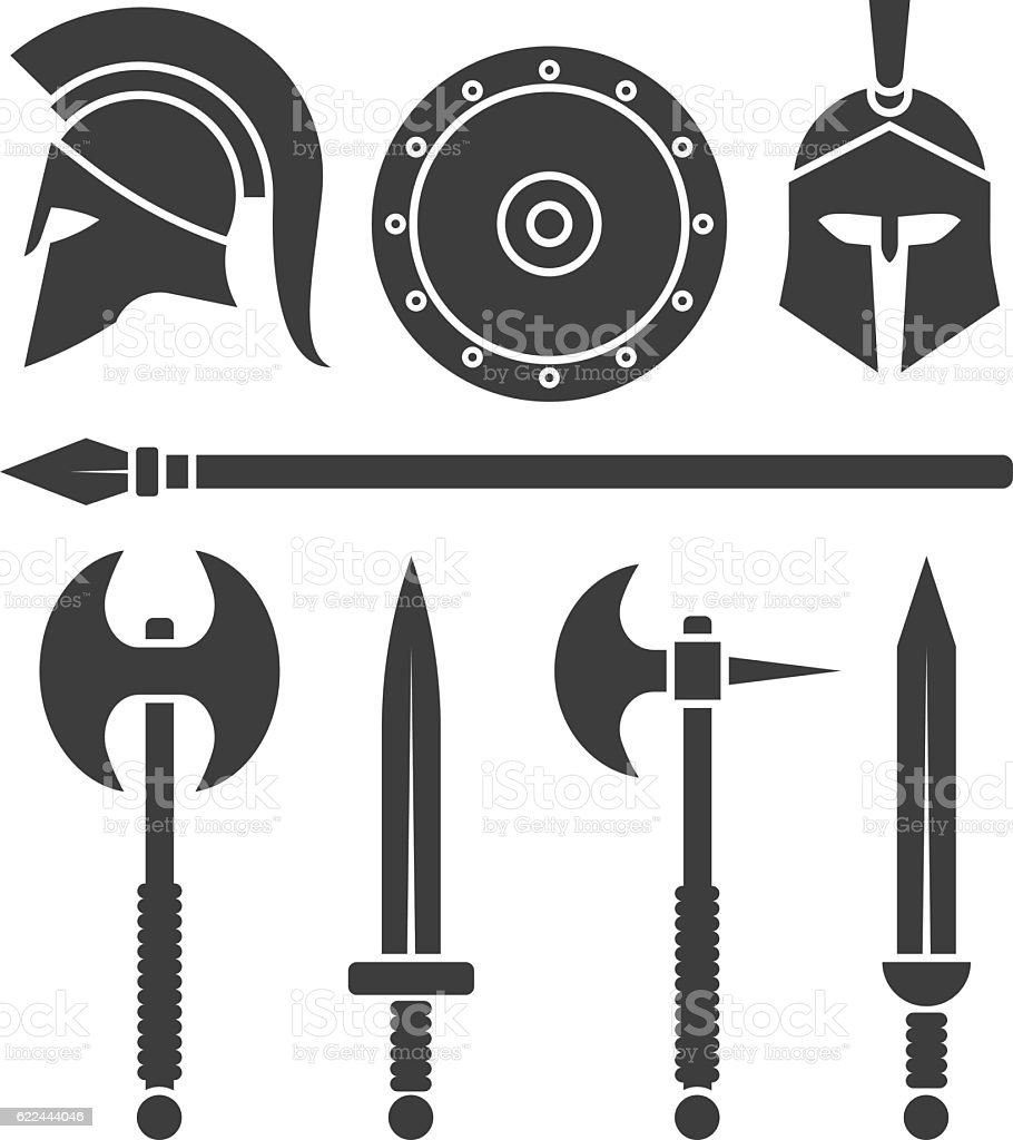 Weapons and armor of the Spartans. Swords and axes set vector art illustration