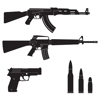 Weapons and military set. Sub machine guns, pistol and bullets black icons isolated on white background. Vector illustration.