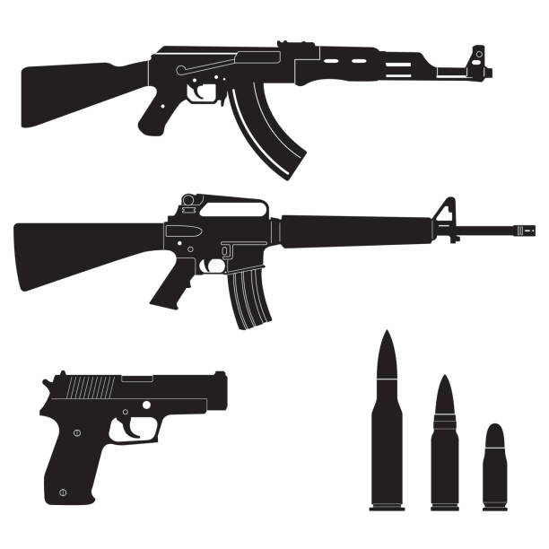 Weapons and military set. Sub machine guns, pistol and bullets black icons isolated on white background. Vector illustration. Weapons and military set. Sub machine guns, pistol and bullets black icons isolated on white background. Vector illustration. pistol stock illustrations