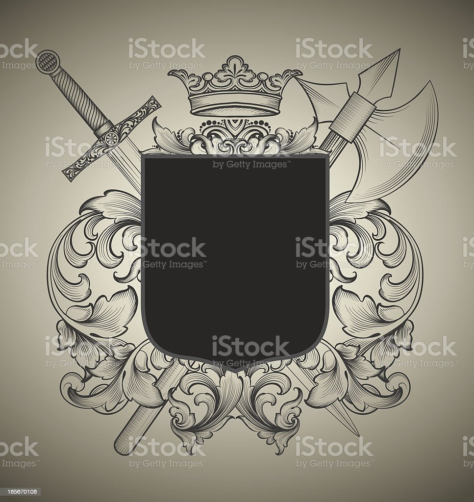 Weapons Coat of Arms royalty-free stock vector art