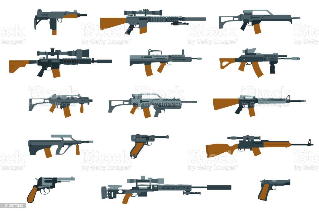 Weapons flat icons. Shotgun and machine gun royalty-free weapons flat icons shotgun and machine gun stock illustration - download image now