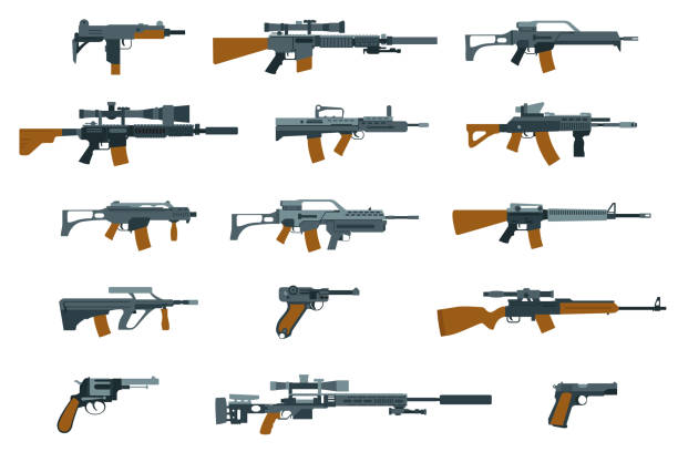 Weapons flat icons. Shotgun and machine gun Weapons flat icons. Gun and rifle, shotgun and machine gun. Vector illustration gun stock illustrations