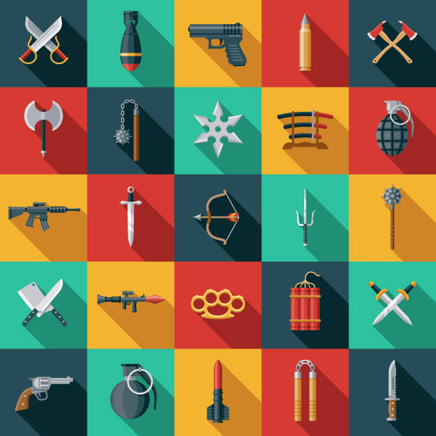 Weapons Icon Set A set of icons. File is built in the CMYK color space for optimal printing. Color swatches are global so it's easy to edit and change the colors. weapon stock illustrations