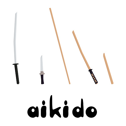 Weapons in aikido, training and combat weapons for practicing aikido