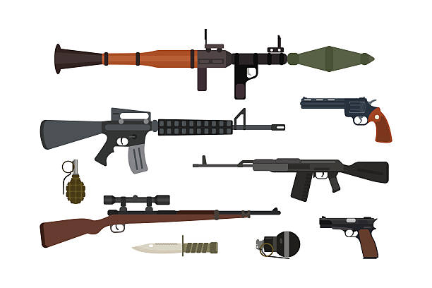 Weapons vector collection. Weapons vector guns collection. Pistols, submachine, assault rifles sniper, knife, grenade icons. Violence firearm police ammunition illustration isolated. weapon stock illustrations