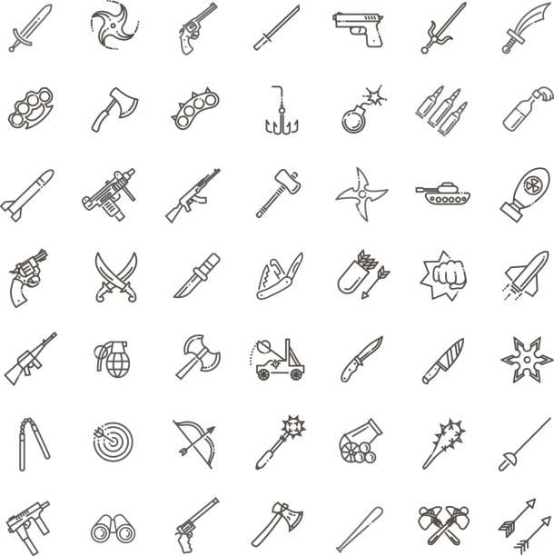 Waffen Vektor-Icons Set, Arme solide symbol – Vektorgrafik