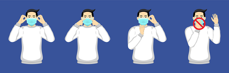 Wear and remove surgical mask. Step by step infographic illustration of how to wear and remove a surgical mask.