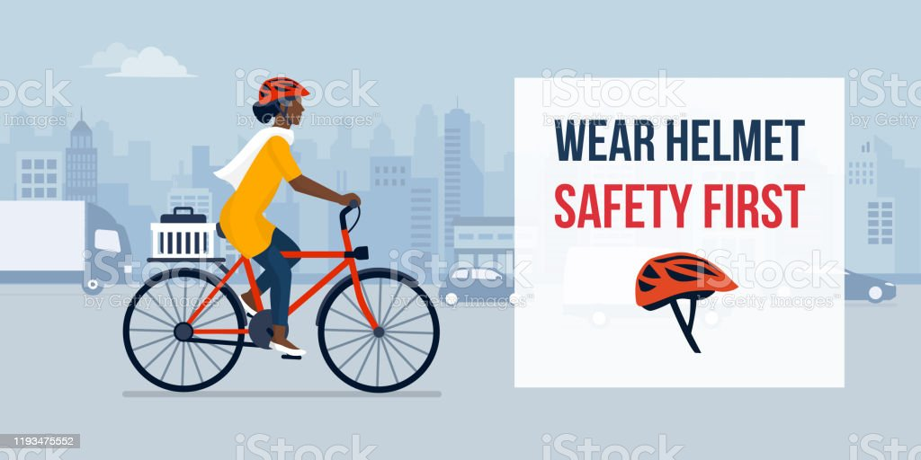 Wear helmet for your safety - Royalty-free A caminho arte vetorial