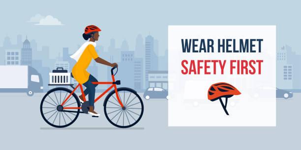 安全のためにヘルメットを着用する - 通勤点のイラスト素材/クリップアート素材/マンガ素材/アイコン素材