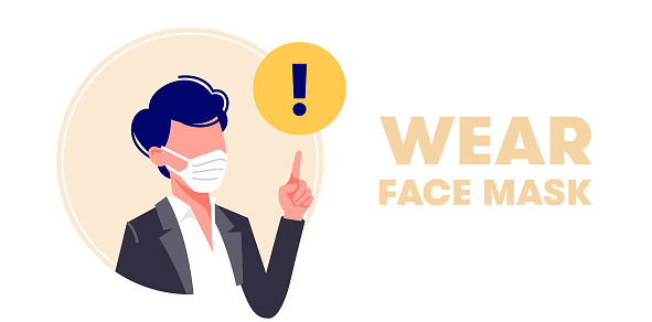 Wearing face mask vector illustration in flat design. Man in protective medical masks. Protection from virus (coronavirus), bacterium, urban air pollution, smog, pollutant gas emission.