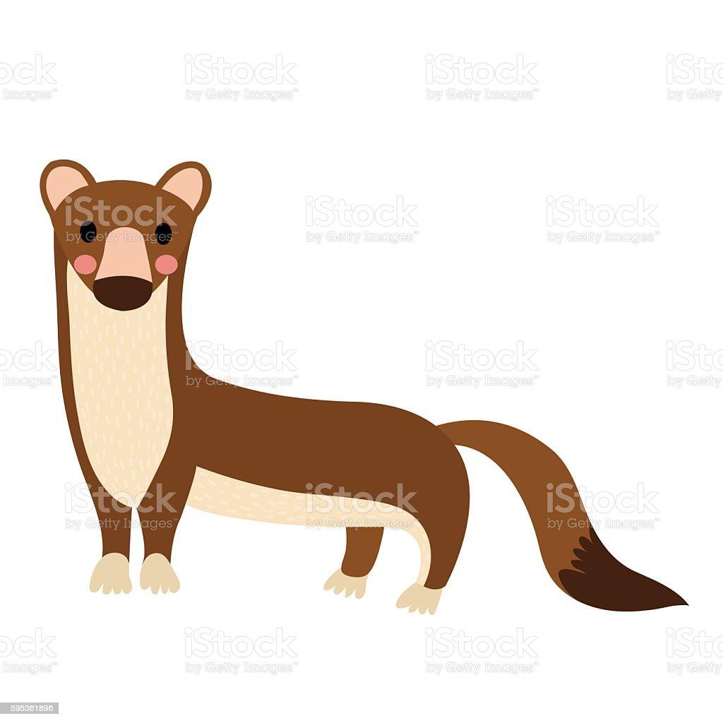 Weasel animal cartoon character vector illustration. - Illustration vectorielle