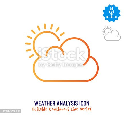 istock Weather Analysis Continuous Line Editable Stroke Line 1254859933