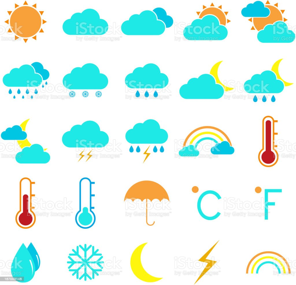 Weather and climate color icons on white background royalty-free stock vector art
