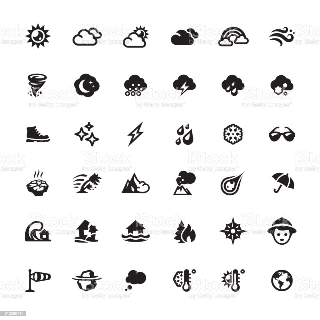 Weather and Climate icons set vector art illustration