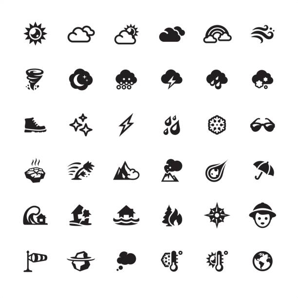 Weather and Climate icons set Weather and Climate - Ultimate pack #9 storm stock illustrations