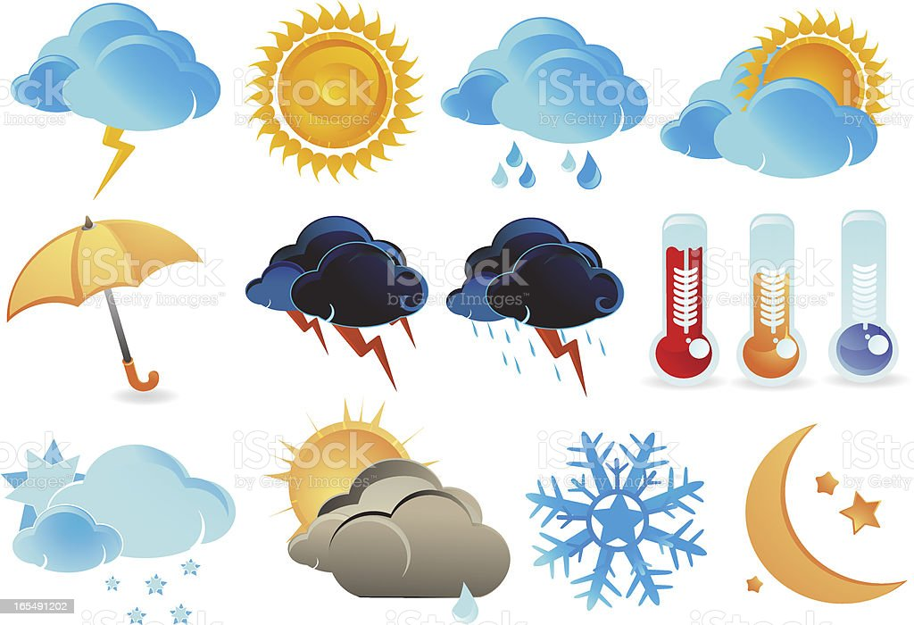 Weather and Climate Icons royalty-free stock vector art