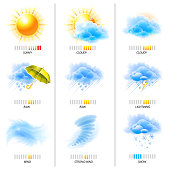 Climate and weather concept icons set on white. EPS 10 with transparency and effects of blending colors.