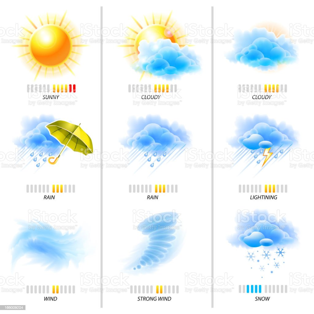 Weather and climate themed icons vector art illustration