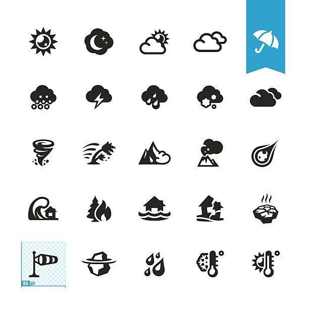illustrazioni stock, clip art, cartoni animati e icone di tendenza di meteo e catastrofi naturali icone vettoriali - grandine vector
