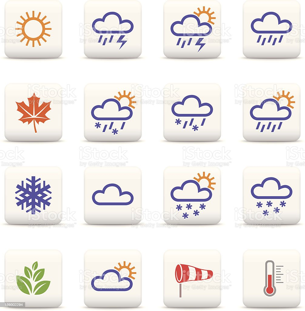 Weather and seasons icon set royalty-free stock vector art