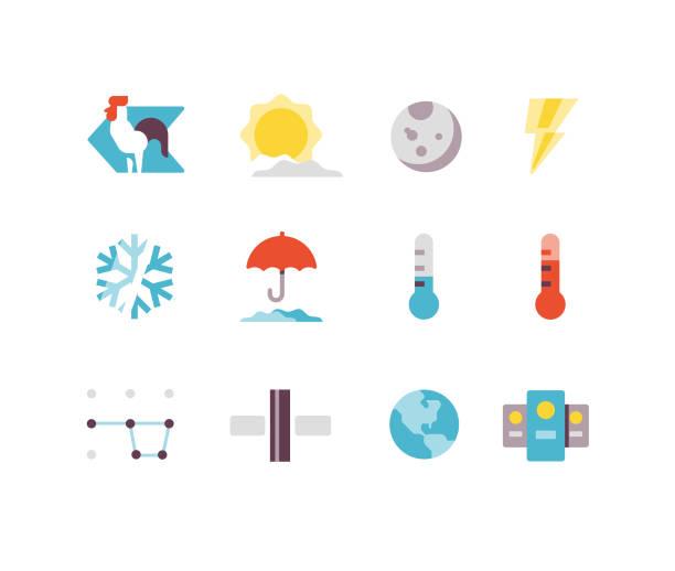 wetter und flachen raum symbole - schneeflocke sonnenaufgang stock-grafiken, -clipart, -cartoons und -symbole