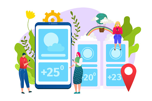 Weather app design, forecast web widgets application template, vector illustration. Mobile interface with weather icons of sun, cloud, temperature and geo location. Meteorology layout.