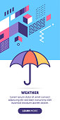 Umbrella vector banner illustration also contains icon for the topic.