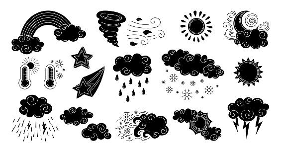 Weather black glyph set doodle sun symbol star