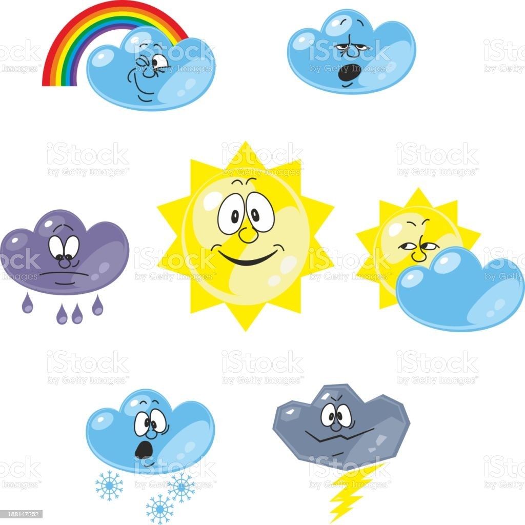 Weather cartoon set 001 royalty-free stock vector art