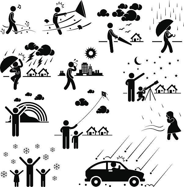 Weather Climate Atmosphere Pictogram A set of pictograms representing various weather and climate with people. hailstorm stock illustrations