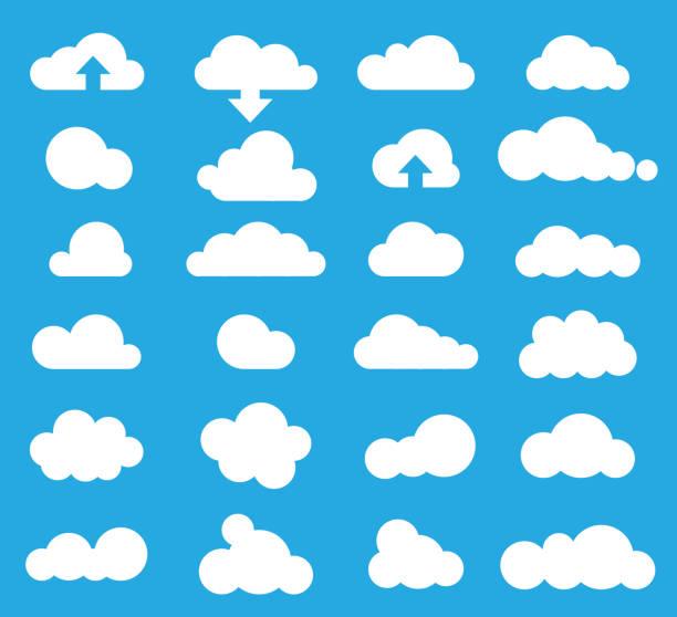 pogoda chmury ikona ustawiona, wektor - chmura stock illustrations