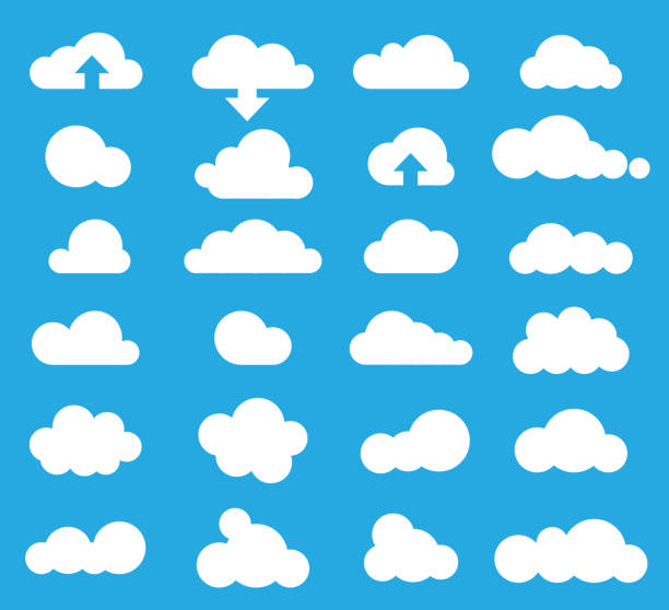 weather clouds icon set, vector - chmura stock illustrations