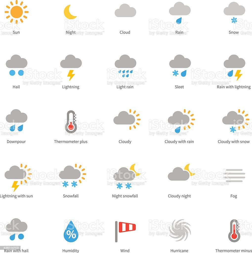 Weather colored icons on white background vector art illustration