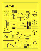 Weather Concept. Geometric Retro Style Banner and Poster Concept with Weather Related Line Icons
