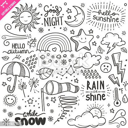 Set of weather related objects and elements. Hand drawn doodle illustration collection isolated on white background. Editable stroke/outline.