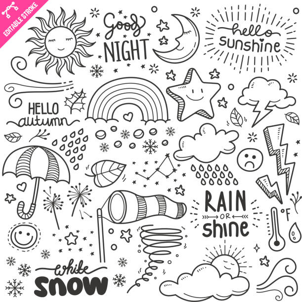 illustrazioni stock, clip art, cartoni animati e icone di tendenza di elementi di weather design. set di illustrazioni doodle vettore in bianco e nero. tratto modificabile. - scarabocchi