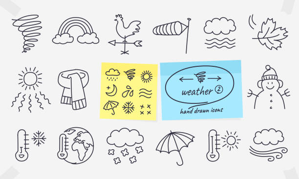 Weather doodles on coloured memos. Full vector drawings with editable strokes. weather vane stock illustrations
