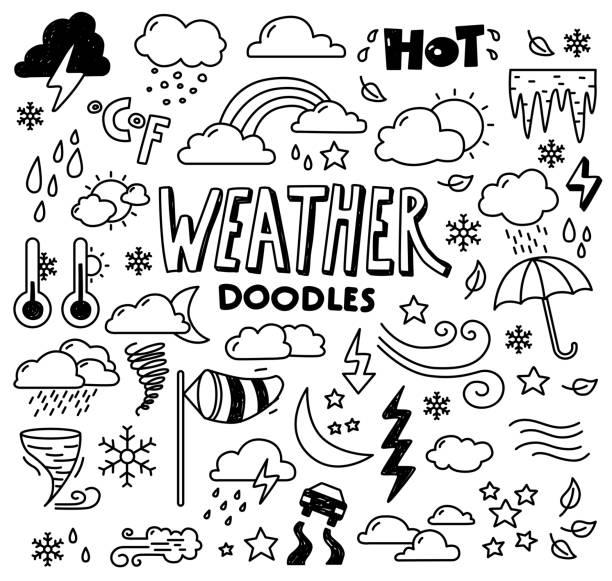 stockillustraties, clipart, cartoons en iconen met weer doodles - mist donker auto