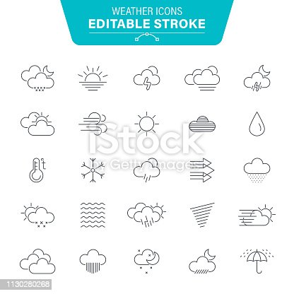 Weather, Wind, Snow, Snowflake, Rain, Wave Pattern, Editable Stroke Icon Set