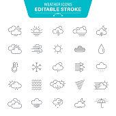 Weather, Wind, Snow, Snowflake, Rain, Wave Pattern, Editable Stroke Icon Set