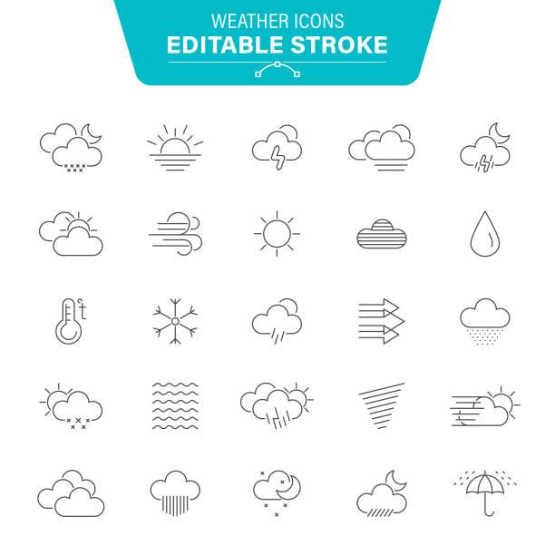 stockillustraties, clipart, cartoons en iconen met bewerkbare lijn weerpictogrammen - regen zon