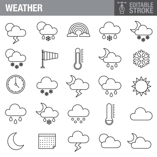 Weather Editable Stroke Icon Set A set of editable stroke thin line icons. File is built in the CMYK color space for optimal printing. The strokes are 2pt and fully editable: Make sure that you set your preferences to 'Scale strokes and effects' if you plan on resizing! hailstorm stock illustrations