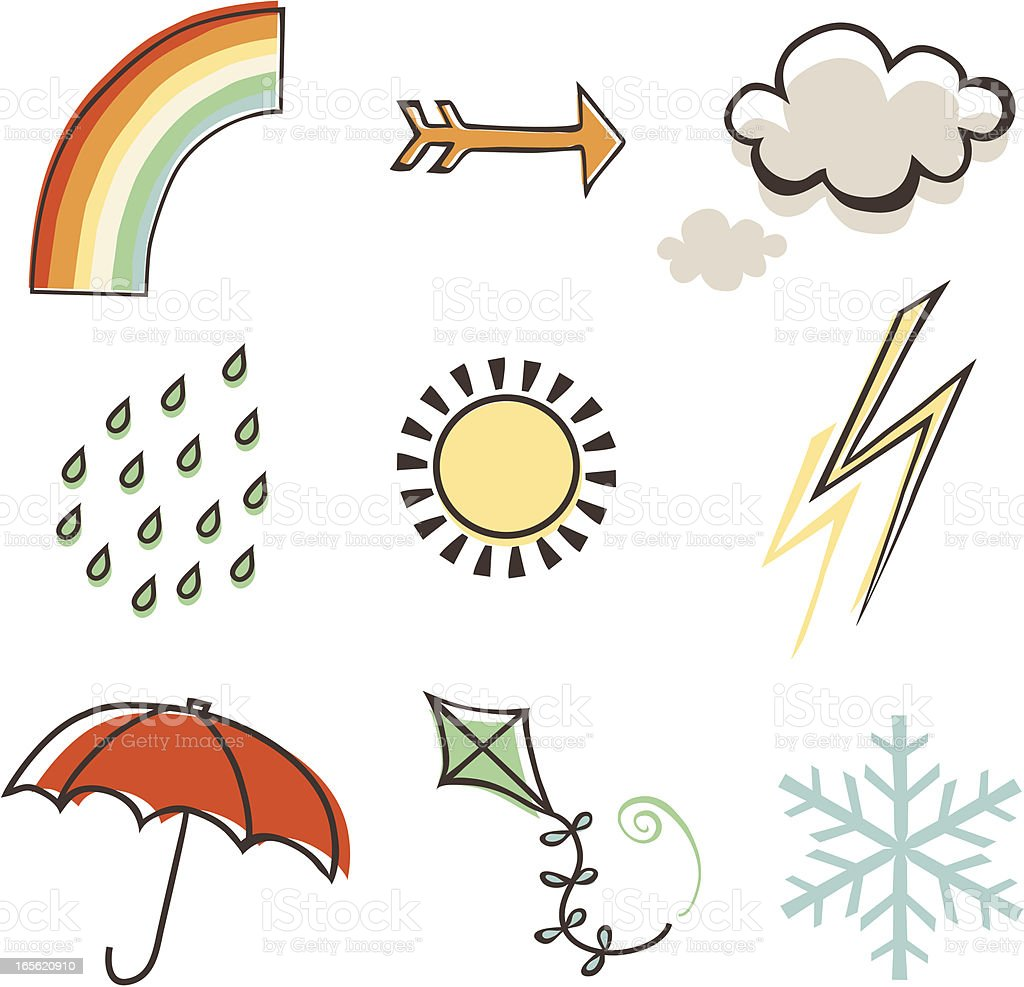 Weather elements from rainbow to snow vector art illustration