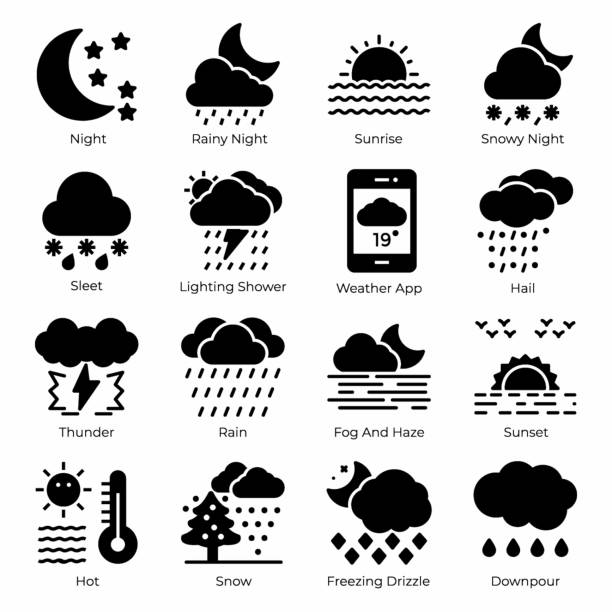 Weather Filled Icons Pack A mesmerizing weather filled icons set is here having soothing visuals. Editable vectors are convenient for your design project. Hold it now! hailstorm stock illustrations