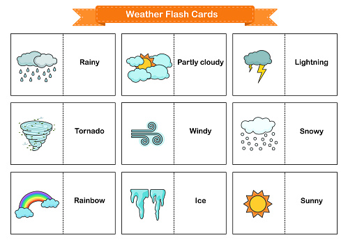 Weather Flash Cards - Collection оf environment and weather.