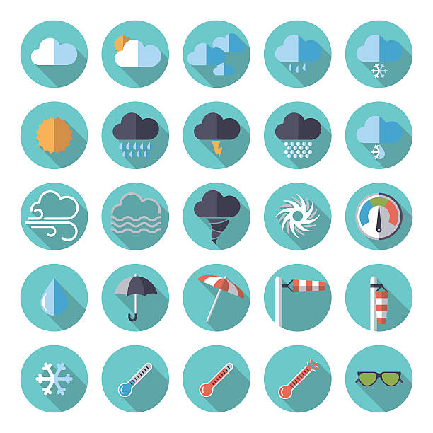 weather flat design icon set Collection of weather and climate related flat design vector icons heat wave stock illustrations